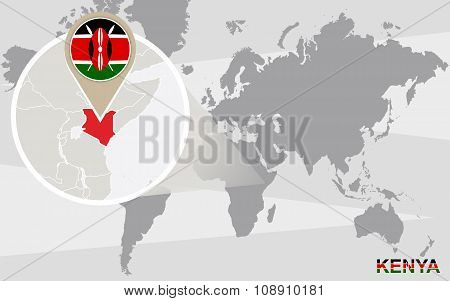 World Map With Magnified Kenya
