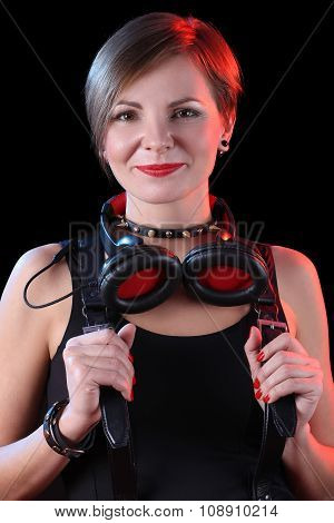 Expressive girl in headphones