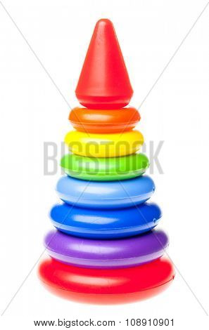 Colorful  plastic  pyramid toy on white background