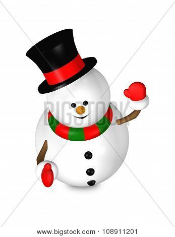 Cartoon Snowman Looks Up Isolated Over White