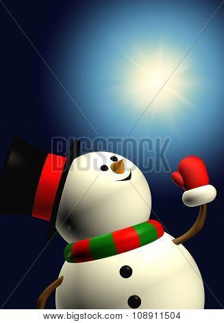 Cartoon Snowman Iholding Christmas Star Over Dark