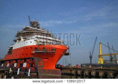 Ship under repairs