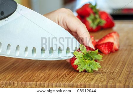 Slicing strawberries