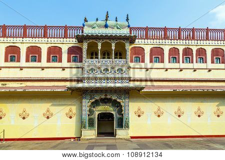 JAIPUR, INDIA - MAY 5, 2013: Chandra Mahal in City Palace Jaipur India. It was the seat of the Maharaja of Jaipur the head of the Kachwaha Rajput clan. The Chandra Mahal palace seen in this photo now houses a museum.