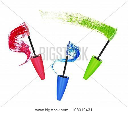 Colored Mascara And Brush Strokes Isolated On White Background