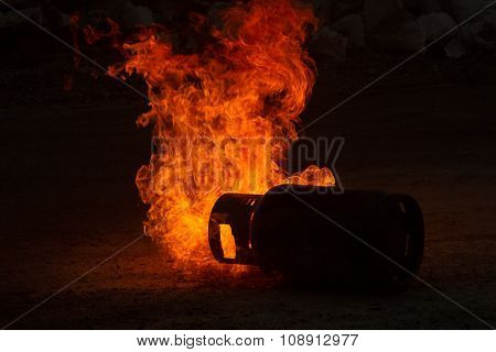 Powerful Gas Explosion With Fire Flame On Black Background