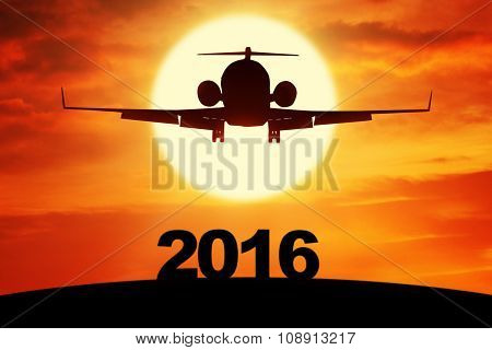 Airplane Flying Above Numbers 2016
