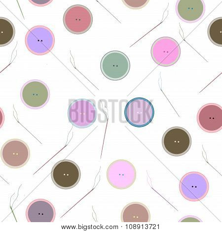 Seamless pattern of  buttons and needles. Sewing, needlework