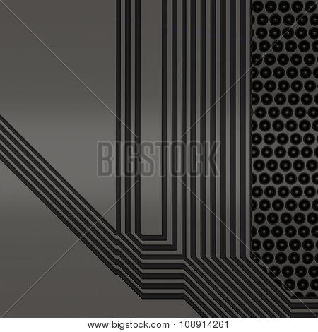 Artificial circuit board close-up conceptual illustration