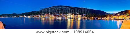 Town Of Vis Waterfront Evening Panorama