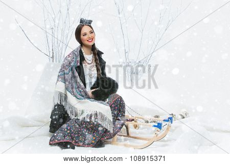 Portrait of Russian girl with birch