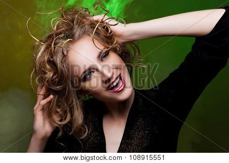 Beautiful girl with creative hairstyle