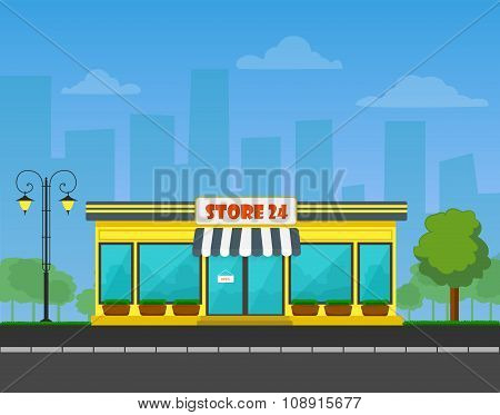 Vector detailed Shop or store or market on cityscape background.