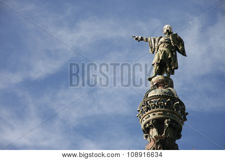 Christopher Columbus Pointing Towards America  In Barcelona