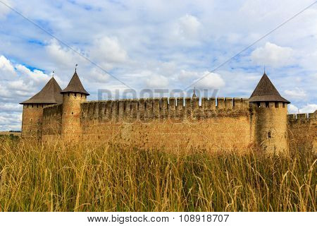 Autumn landscape with old castle in Khotyn town, Ukraine