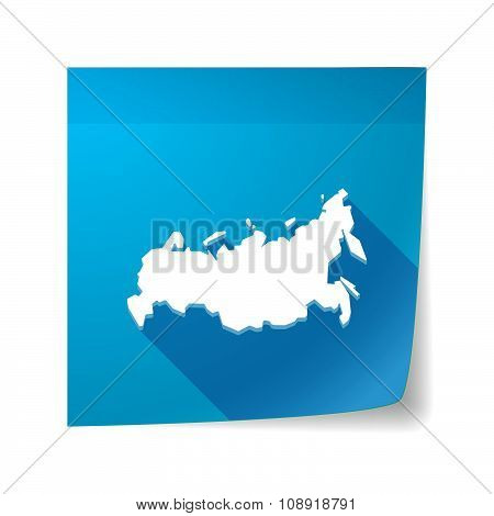 Long Shadow Vector Sticky Note Icon With  A Map Of Russia