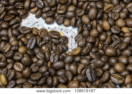 Map Of Vietnam Under A Background Of Coffee Beans