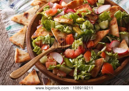 Fattoush Salad With Pita Bread And Vegetables Close Up. Horizontal