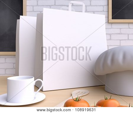 Branding mockup kitchen with table and kitchenware. 3d illustration.