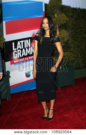 LAS VEGAS - NOV 19:  Zoe Saldana at the 16th Latin GRAMMY Awards at the MGM Grand Garden Arena on November 19, 2015 in Las Vegas, NV
