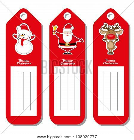Set Vectors Pattern For Label Christmas Type With Figurines Santa Claus, Deer And Snowman Isolated O