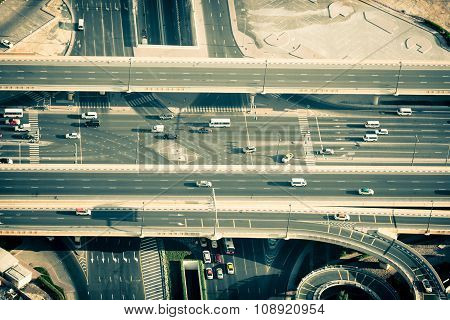 Top View Of Highway Interchange In Dubai, Uae