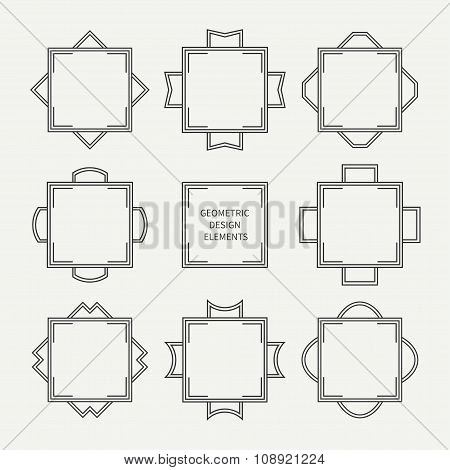Set of mono line retro frame. Vector illustration. Isolated elegant design elements, border. Collect