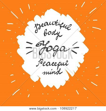 Vector Yoga. Yoga Poster With Hand Drawn Typography. Banner Design With Calligraphic Font.