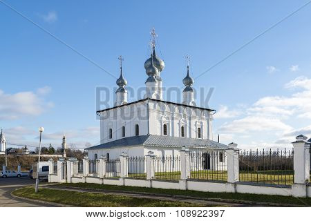 Suzdal, Russia -06.11.2015. Petropavlovskaya Church in Suzdal was built at 1694. Golden Ring of Russ