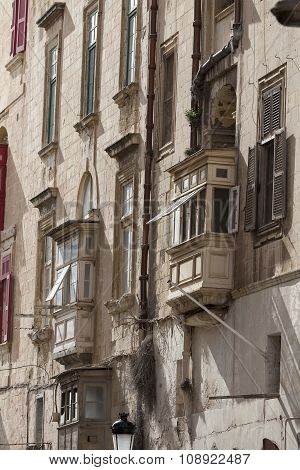 Typical Maltese Balconies In Historical District Of Capital Of Malta - Valletta, Europe