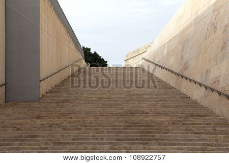 Old Stairs In City Gate Of Valletta - Malta Capital, Europe