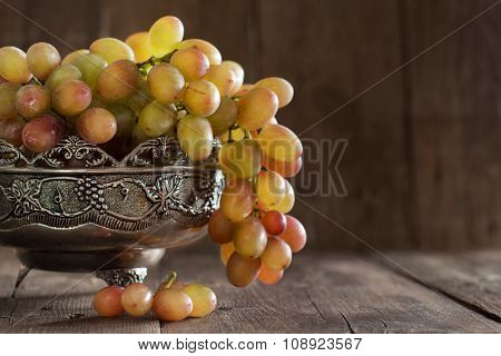 Grapes In Silver Bowl