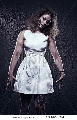 Female Zombie With Bloody Face