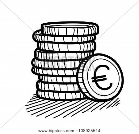 Stack of Coins Doodle (Euro)