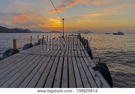 View Of The Dawn Sky From A Small Boat Landing.