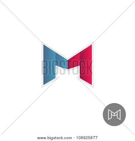 Letter M Colorful Ribbons Logo