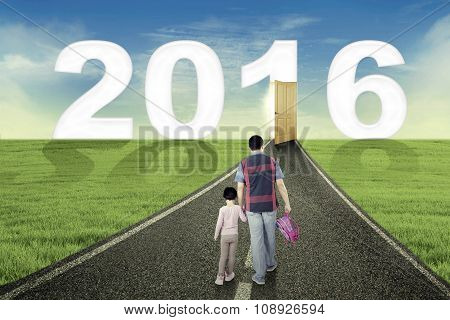 Little Girl And Dad Walk Toward Number 2016
