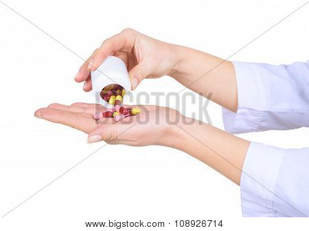 Closeup On Female Hands With Pills