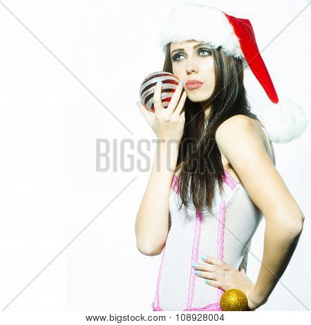 New Year Woman With Ball
