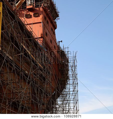 Close up of the ship under construction