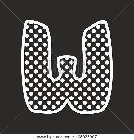 W alphabet vector letter with white polka dots on black background
