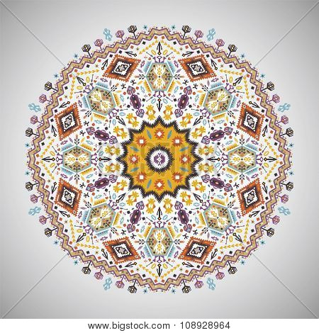 Ornamental round geometric pattern in aztec style