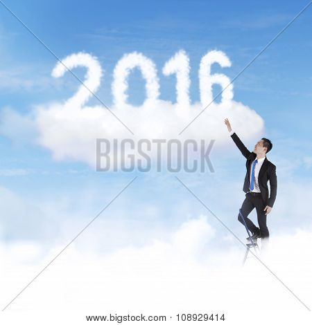 Man Try To Take Numbers 2016 On The Sky