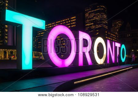 Toronto Sign with Transgender Flag Colors