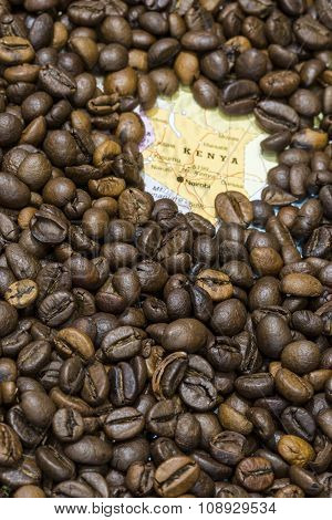 Map Of Kenya Under A Background Of Coffee Beans