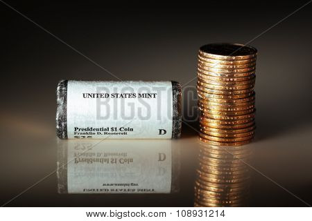 golden dollar coins, US mint roll