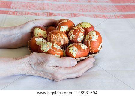 Easter Eggs In Wickerwork Plate