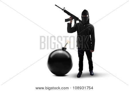 Rebel With Bomb And Holding Machine Gun