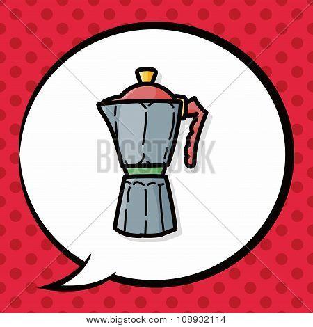 Coffee Kettle Maker Color Doodle