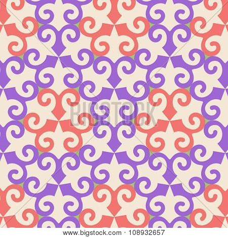 Vector Oriental Ornamental Seamless Pattern With Violet And Orange Element